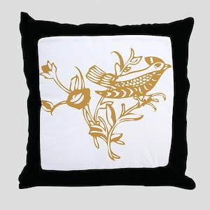 Gold Bird Throw Pillow