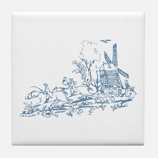 Blue Windmill Tile Coaster