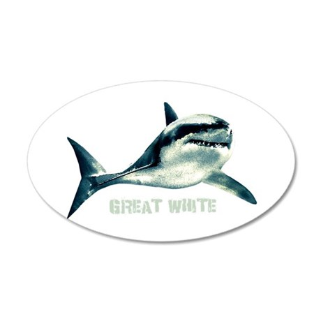Great White 20x12 Oval Wall Decal