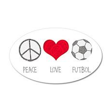Peace Love Futbol 22x14 Oval Wall Peel