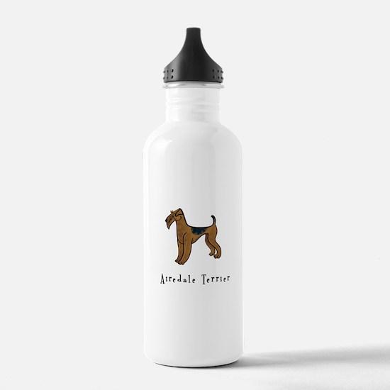 Airedale Terrier Illustration Water Bottle