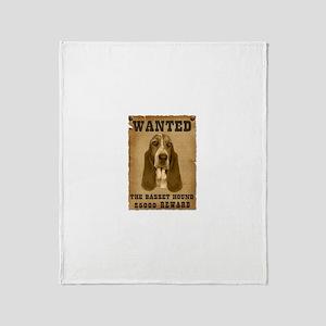 """""""Wanted"""" Basset Hound Throw Blanket"""