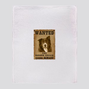 """Wanted"" Border Collie Throw Blanket"