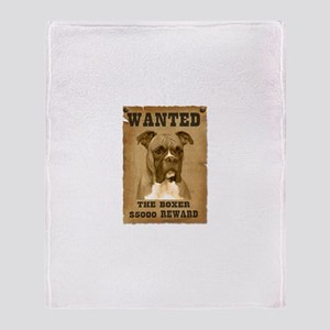 """Wanted"" Boxer Throw Blanket"