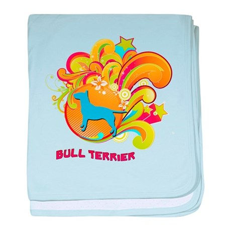 Groovy Bull Terrier baby blanket