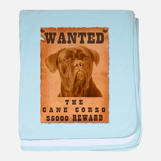 """""""Wanted"""" Cane Corso baby blanket"""