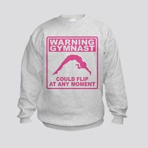 Warning Gymnast Could Flip Kids Sweatshirt
