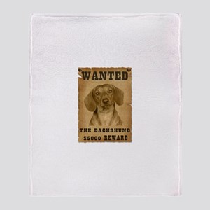 """Wanted"" Dachshund Throw Blanket"