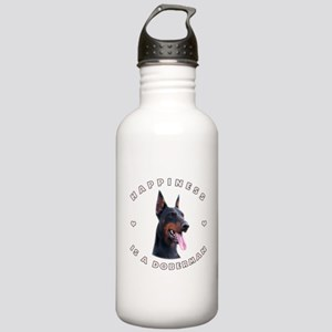 Happiness is a Doberman! Stainless Water Bottle 1.