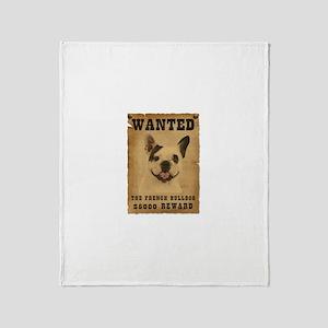 """Wanted"" French Bulldog Throw Blanket"