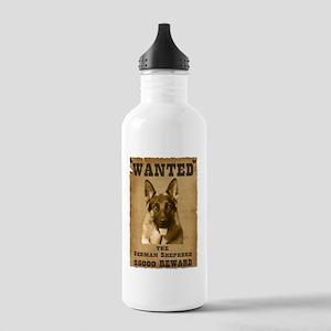 """Wanted"" German Shepherd Stainless Water Bottle 1."