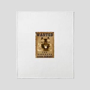 """Wanted"" Keeshond Throw Blanket"