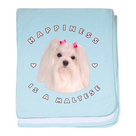 Happiness is a Maltese! baby blanket