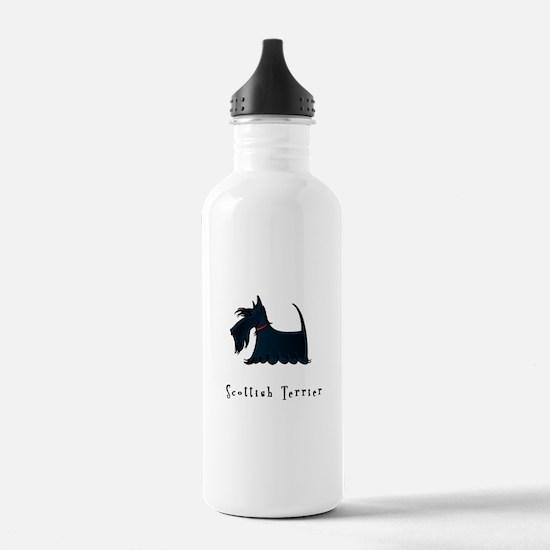 Scottish Terrier Illustration Water Bottle