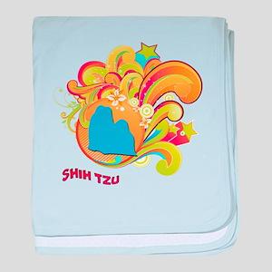 Groovy Shih Tzu baby blanket