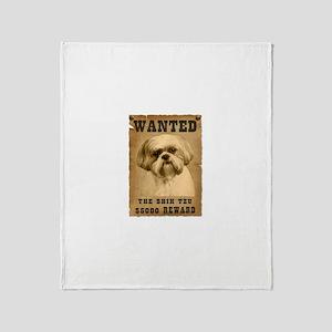 """Wanted""Shih Tzu Throw Blanket"