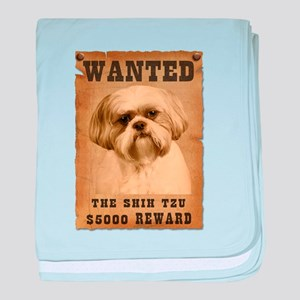 """Wanted""Shih Tzu baby blanket"