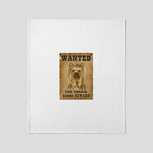 """Wanted"" Yorkie Throw Blanket"