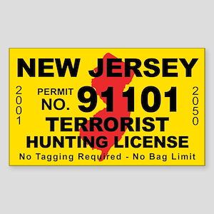 New Jersey Terrorist Hunting Sticker (Rectangle 10