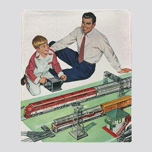 Vintage Father and Son Throw Blanket