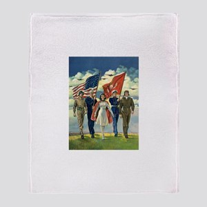 Vintage Patriotic Military Throw Blanket