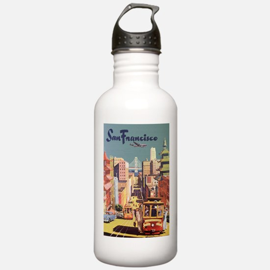 Vintage Travel Poster San Francisco Water Bottle