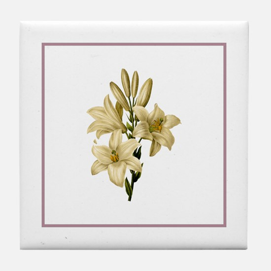 Provencal Rose Stripe White Lily Tile Coaster