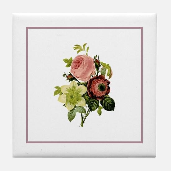 Provencal Rose Stripe Floral I Tile Coaster