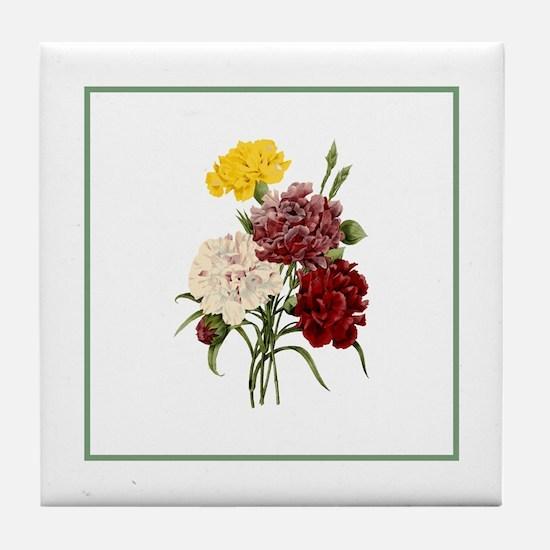 Provencal Green Stripe Floral II Tile Coaster
