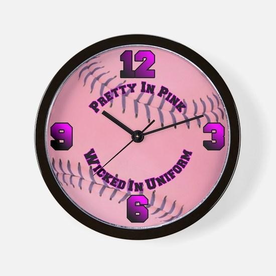 Pretty In Pink Softball Wall Clock