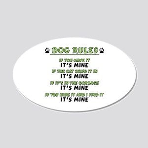 Dog Rules 20x12 Oval Wall Decal