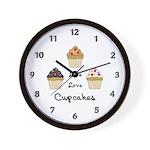 Live Love Cupcakes Wall Clock
