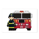 Firefighter and Fire Engine Postcard (Pk of 8)