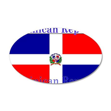 Dominican Republic Flag 22x14 Oval Wall Peel