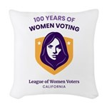 100 Years Of Women Voting Woven Throw Pillow