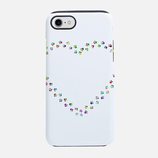 Prismatic Rainbow Pawprint Hea iPhone 7 Tough Case