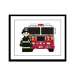 Firefighter and Fire Engine Framed Panel Print