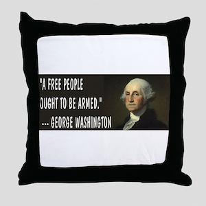 George Washington On Guns Throw Pillow