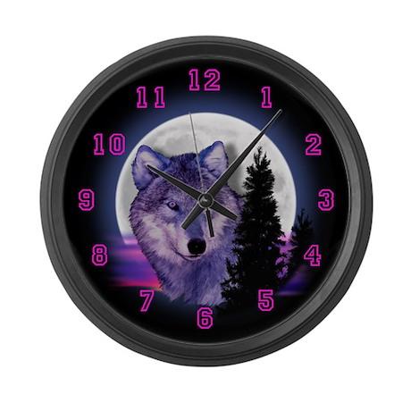 Moon Wolf Large Wall Clock