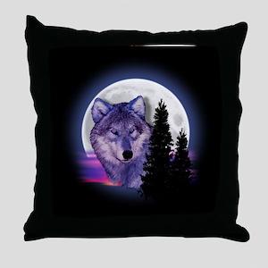 Moon Wolf Throw Pillow
