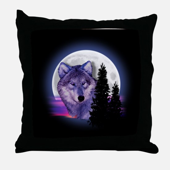 Moon Wolf Throw Pillow