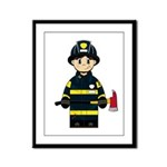 Firefighter with Axe Framed Panel Print