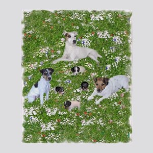 PUPPY PLAYTIME IN THE PARK Throw Blanket