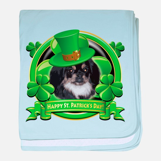 Happy St. Patrick's Day Pekingnese baby blanket