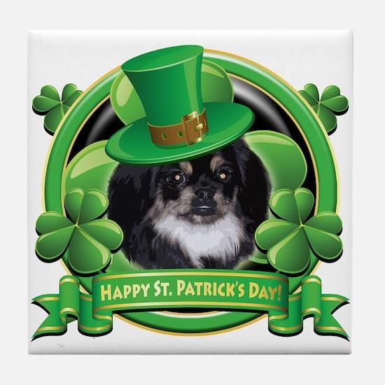 Happy St. Patrick's Day Pekingnese Tile Coaster
