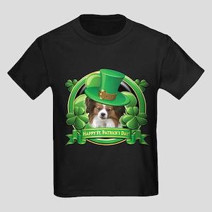Happy St. Patrick's Day Papillon Kids Dark T-Shirt