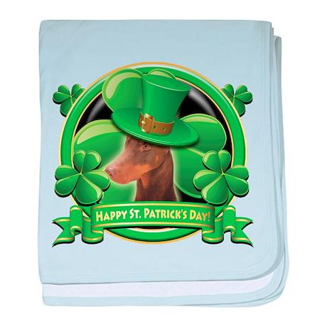 Happy St. Patrick's Day Doberman baby blanket