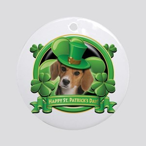 Happy St. Patrick's Day Beagle Ornament (Round)