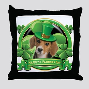 Happy St. Patrick's Day Beagle Throw Pillow