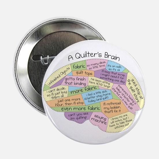 "Quilter's Brain 2.25"" Button"